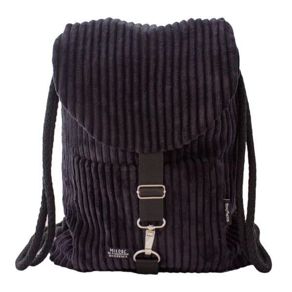 Sztruksowy plecak czarny