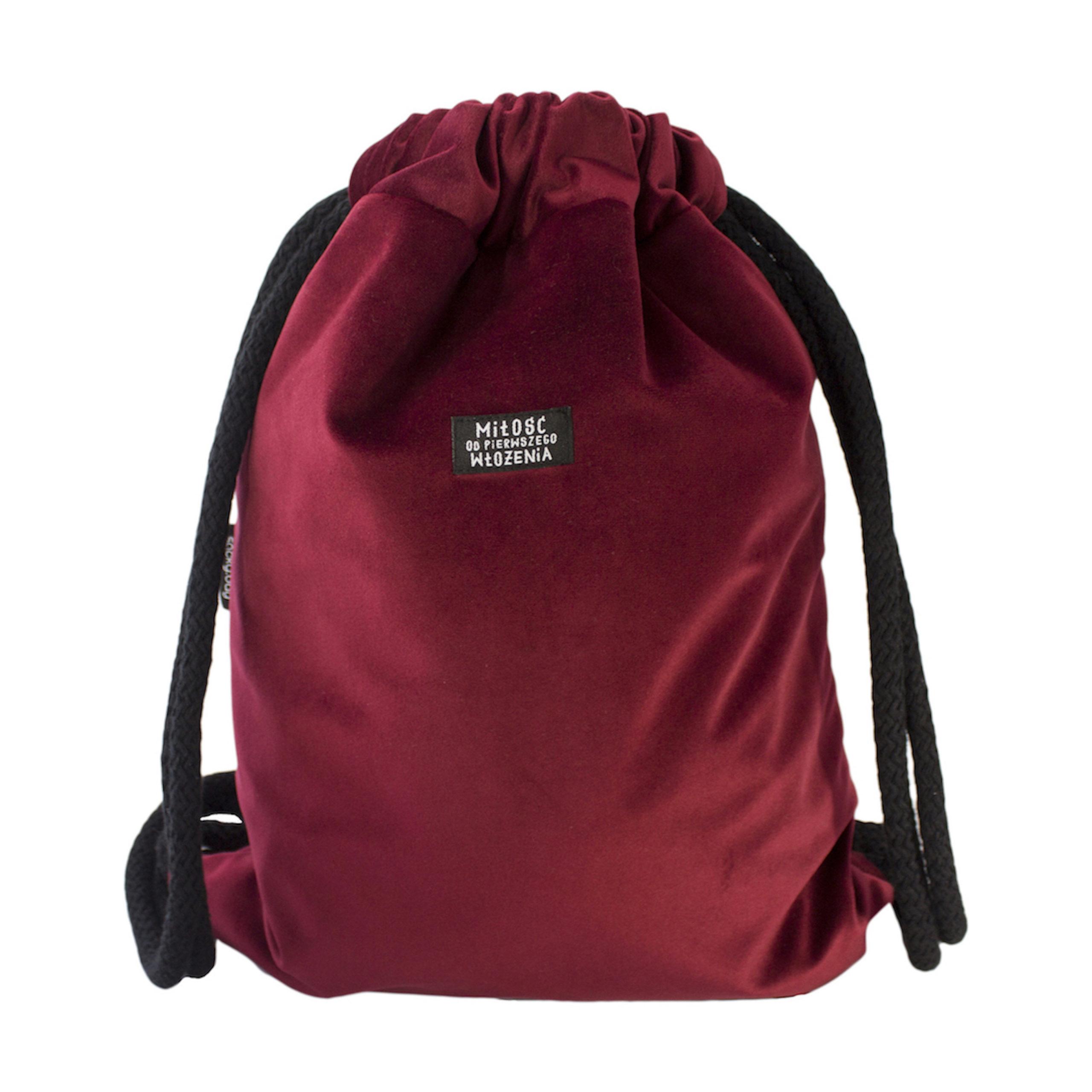 welurowy plecak worek bordo