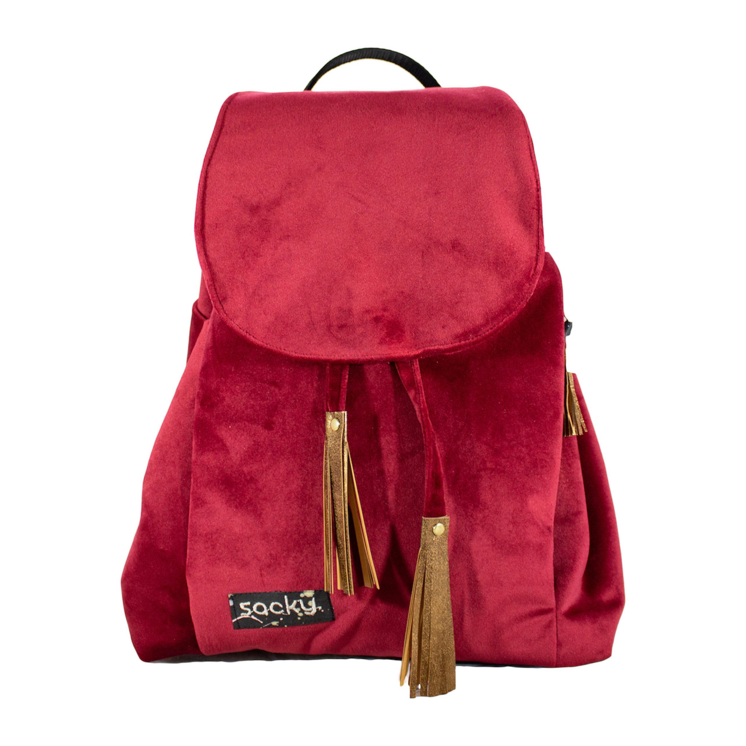 Welurowy plecak premium bordo