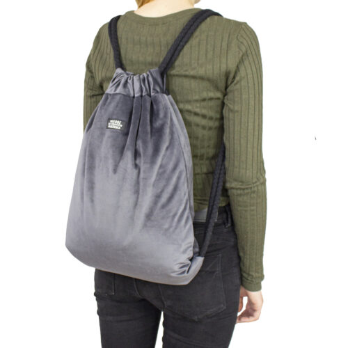 Welurowy plecak worek szary
