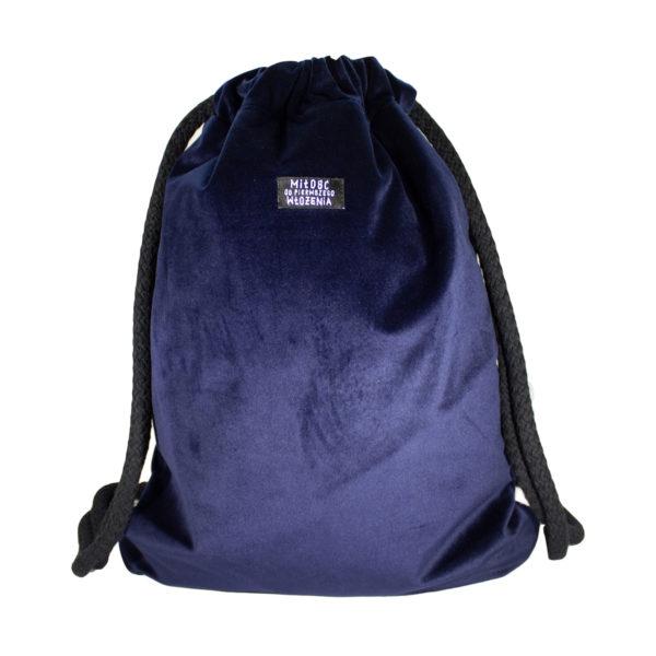 Welurowy plecak worek granat