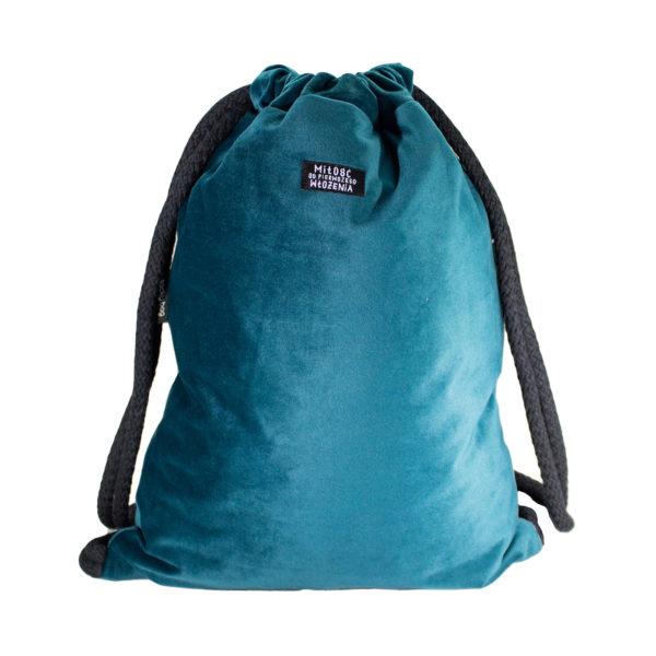 Welurowy plecak worek morski