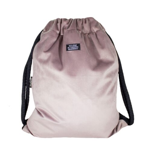 Welurowy plecak worek pudrowy róż