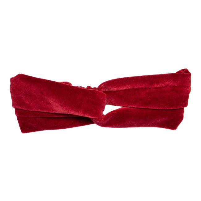 Welurowa opaska do włosów czerwona