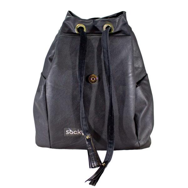 Ekoskóra plecak premium czarny