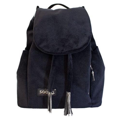 Welurowy plecak czarny premium