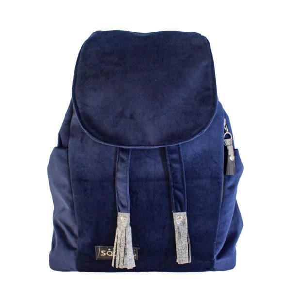 Welurowy plecak premium granat