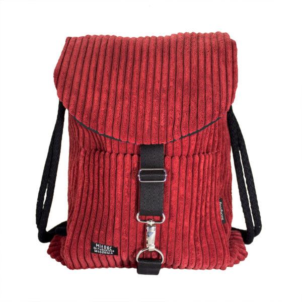 Sztruksowy plecak czerwony