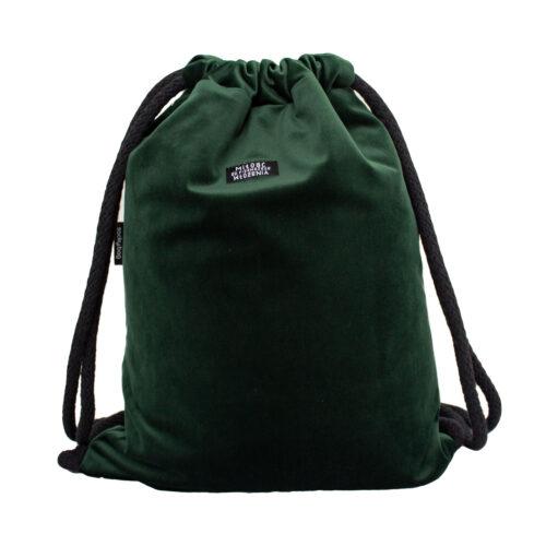 welurowy plecak worek butelkowa zieleń