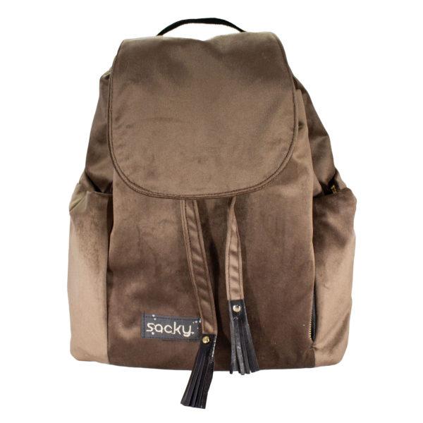 Welurowy plecak premium brąz