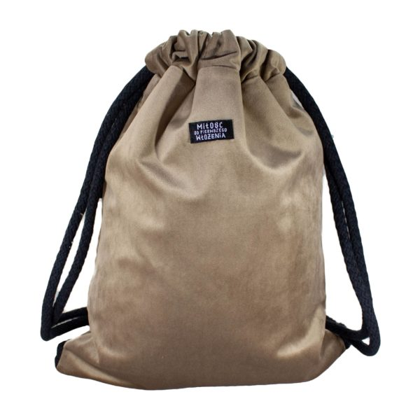 welurowy plecak worek beż