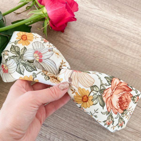 Bawełniana opaska do włosów vintage kwiaty