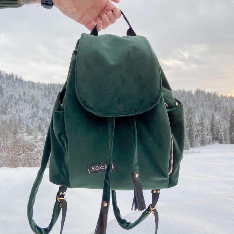 Welurowy plecak premium zieleń