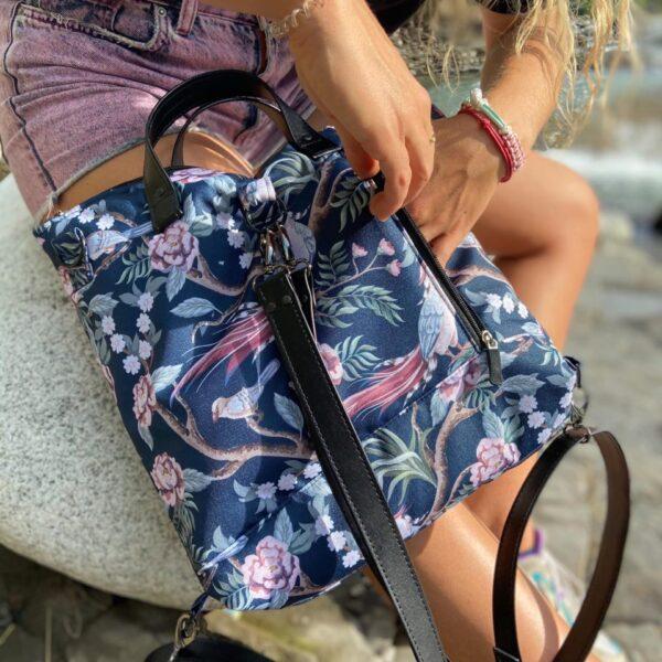Torbo plecak 2w1 kwiaty i ptaki