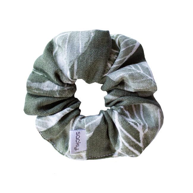 Lniana gumka khaki i liście