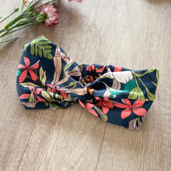 Bawełniana opaska do włosów jesienne kwiaty