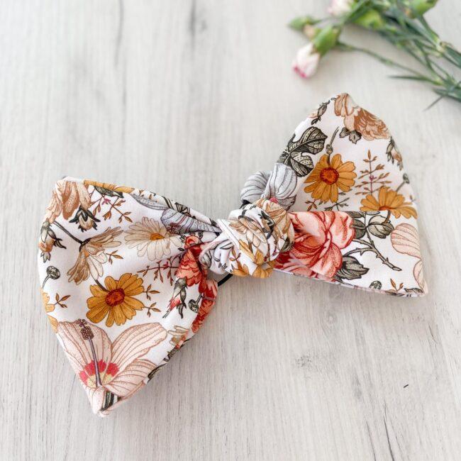 Opaska do włosów z węzłem vintage kwiaty