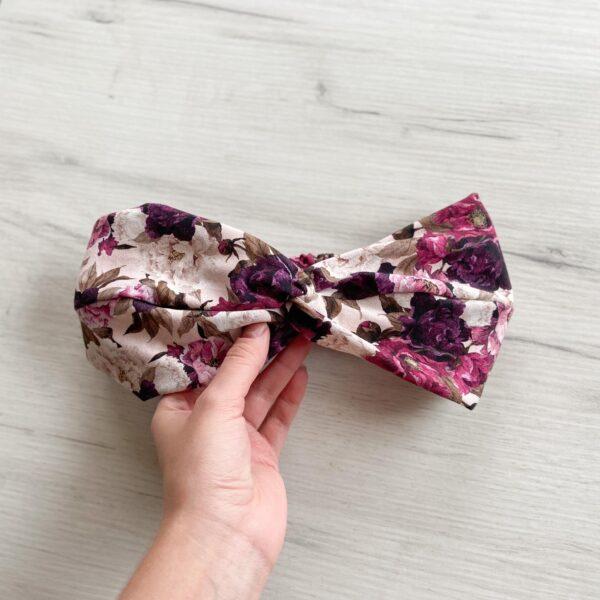 Bawełniana opaska do włosów fiolet piwonie