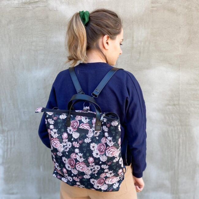 Torbo plecak 2w1 róże