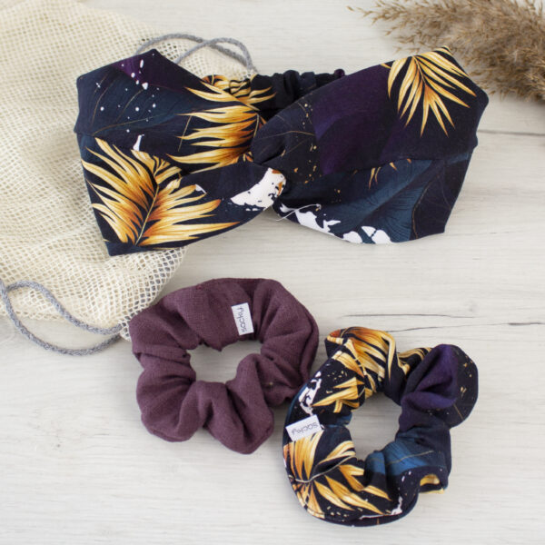 Zestaw do włosów fiolet i liście