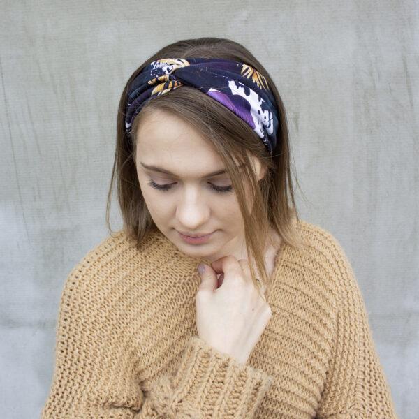 Bawełniana opaska do włosów złote liście